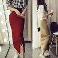 Spring Autumn Saia Longa 2016 New High Quality Slim Warm Knitted Tight Split Pencil Knit Skirts Women Winter Long Skirts Khaki