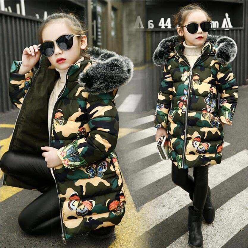 Одежда для девочек детская зимняя утепленная хлопковая куртка длинное камуфляжное пальто с бабочками для девочек топы для девочек, верхняя одежда для малышей