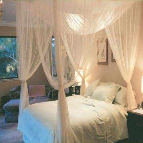 4 Corner Bed Canopy Netting Bed Mosquito Net Square Bedding Accessories 4 Doors Mosquito Net Summer Home Textile 190x210x240cm