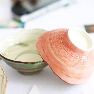 Бесплатная доставка японский стиль керамическая чаша 2 шт цветная чаша для супа, керамическая чаша для салата