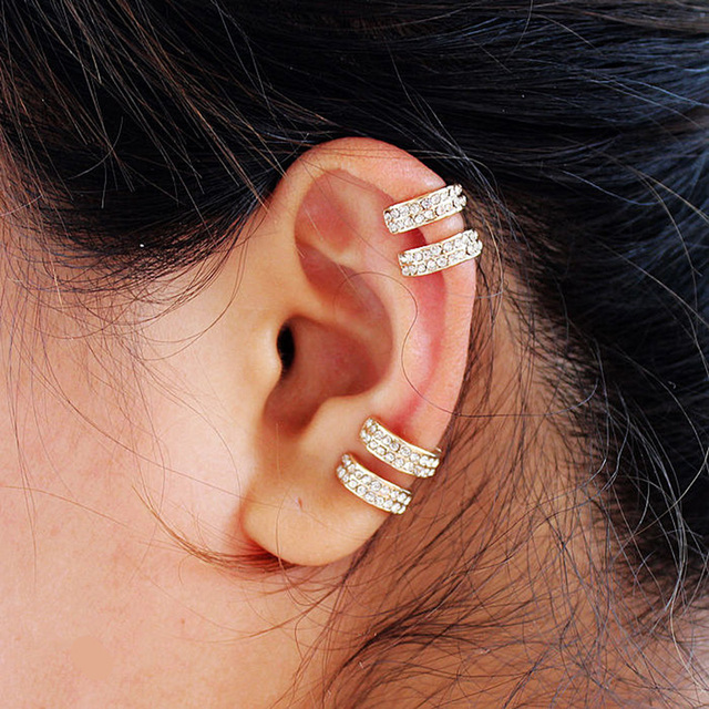 Crystal Earrings Small Round Ear Cuff Gold and Silver Plated 2 Rows Rhinestone Clip Earrings