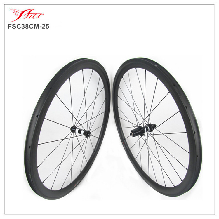 Road racing carbon clincher wheelset 38mm 25mm (DT350 hub + Sapim aero spokes) 700C sprinting carbon road bicycle wheels