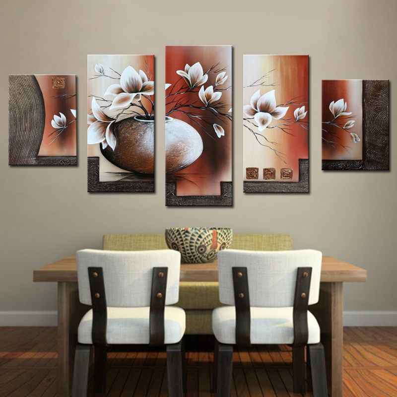 Charming 5 Pieces Canvas Painting 100% Handmade Beautiful Flower Oil Painting For Dining  Room Modern Canvas Art Home Decor Wall Pictures In Painting U0026 Calligraphy  ...