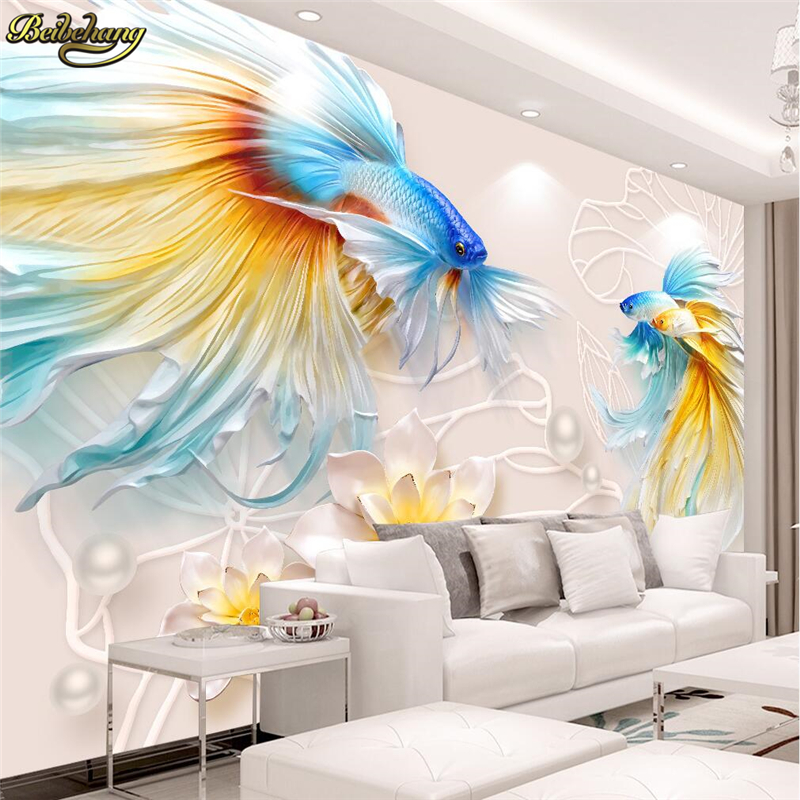 beibehang Fish lotus jewelry Custom 3D Wall Wallpaper photo Mural Embossed wall papers home decor Home Improvement wall paperbeibehang Fish lotus jewelry Custom 3D Wall Wallpaper photo Mural Embossed wall papers home decor Home Improvement wall paper