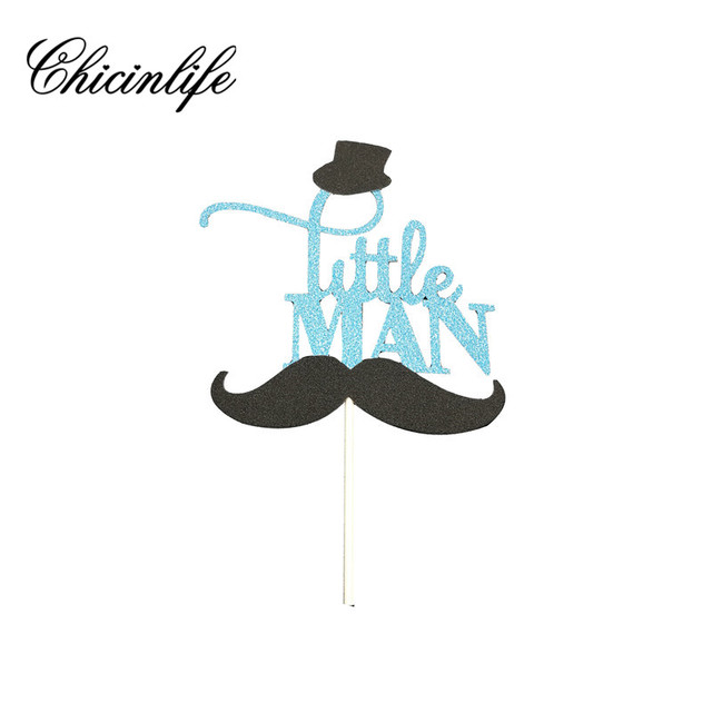 chicinlife 1pcs a little man boy cake topper happy birthday party kids 1st birthday party baby