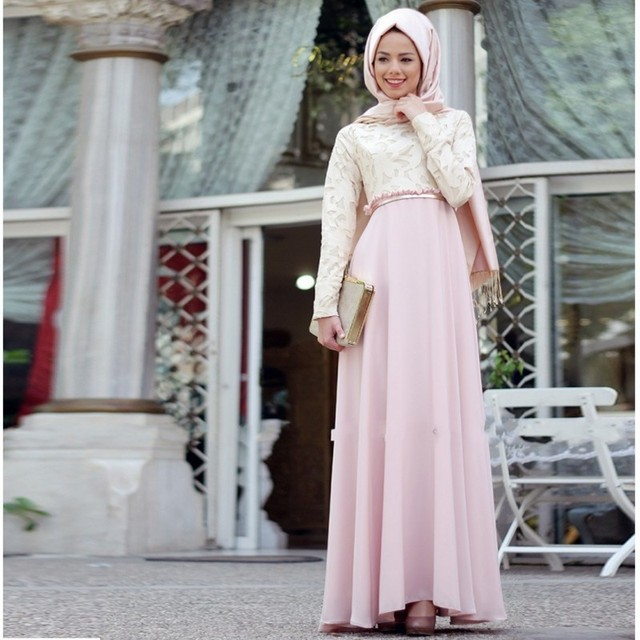 Pink Muslim Evening Dress 2016 Formal Robe De Soiree Long Sleeves With Hijab  Lace Chiffon Women Prom Party Dresses f8d551e57ebd