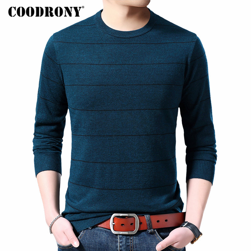 COODRONY Sweater Men Autumn Winter Cashmere Wool Sweaters Casual O-Neck Pullover Men Plus Size Striped Knitwear Pull Homme 91075