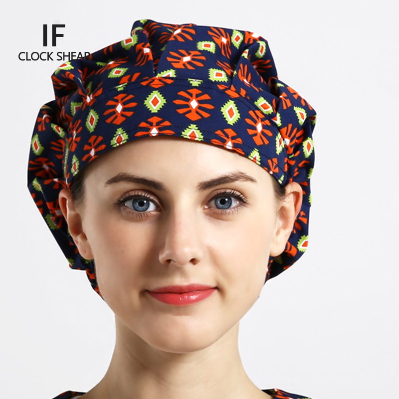 IF new Operating room hat Cotton print hat men and women beauty salon work cap doctor nurse dental scrub bouffant hats