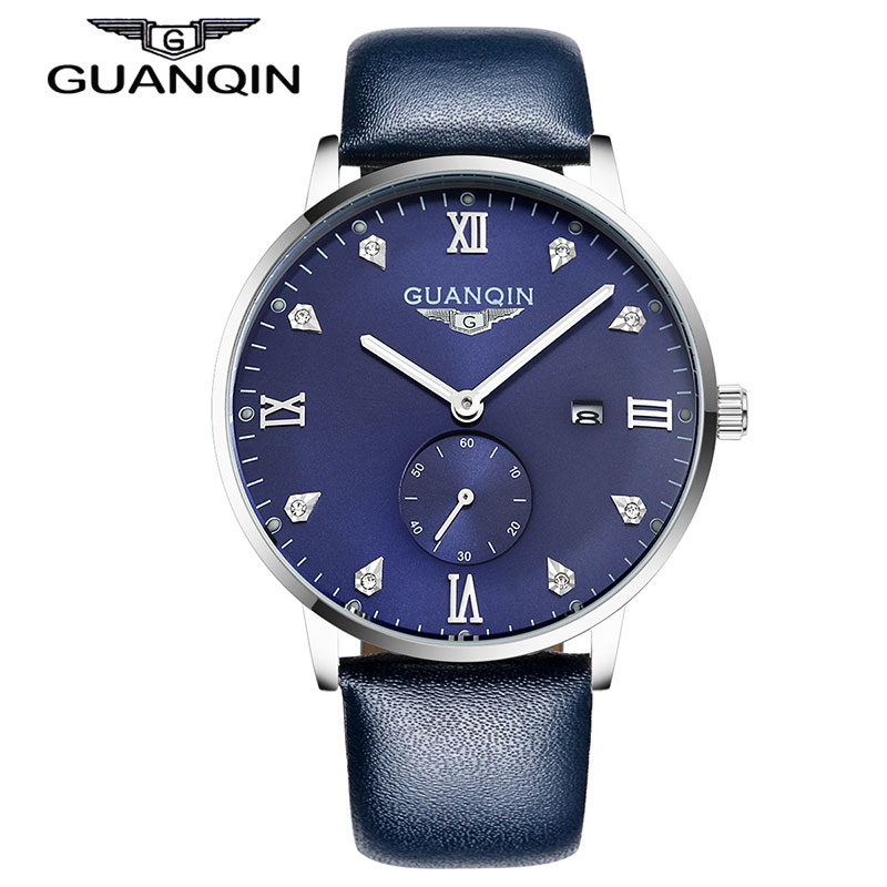 GUANQIN GQ13001 Bauhaus montre homme Leather Quartz Watch Mens Luxury Top Brand Waterproof Wristwatch relogio masculino