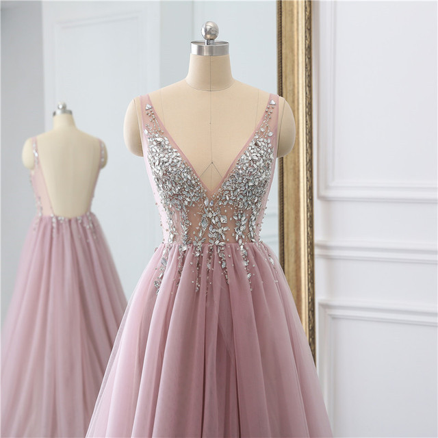 Sexy Tulle Long Prom Dresses 2021 New Arrival Backless Sweep Train Beaded A Line Special Occasion Evening Gowns Custom Made 6