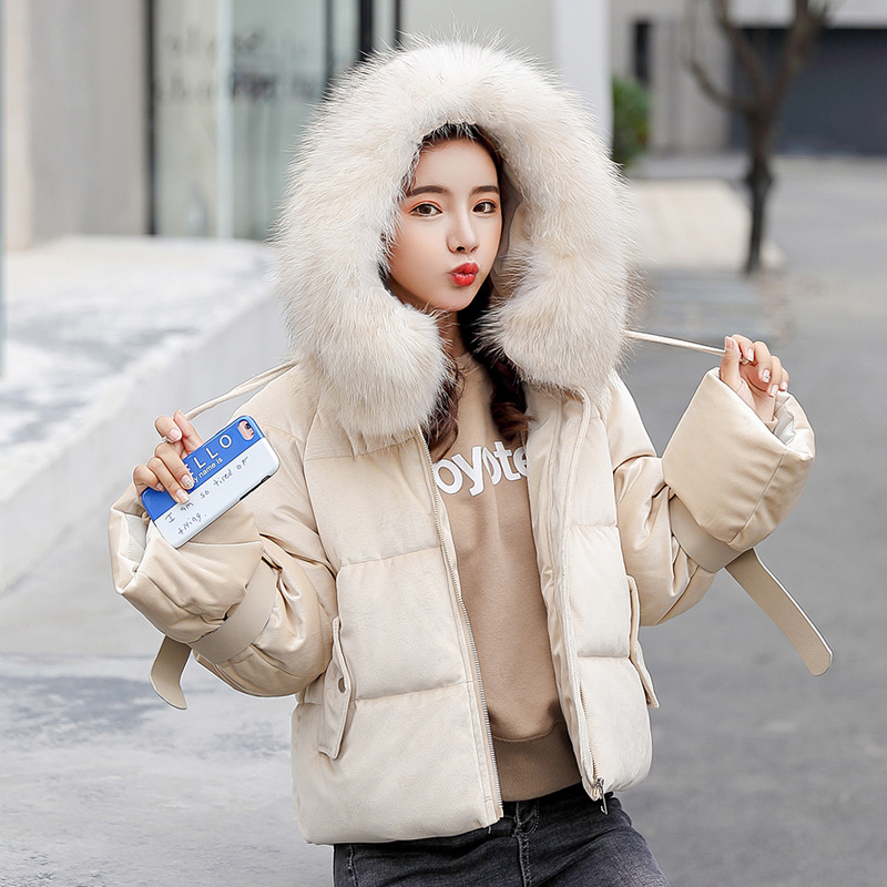 new tops women winter fur hooded collar coat female outerwear ladies warm short   basic     jacket   slim jaqueta feminina high quality