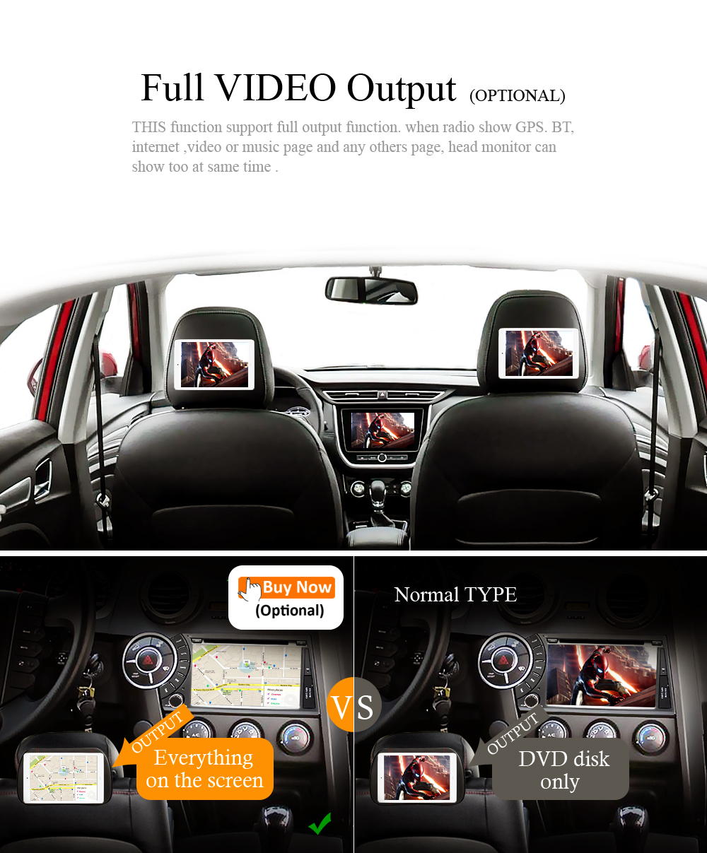 full AV output function with RCA port support rear head monitor function
