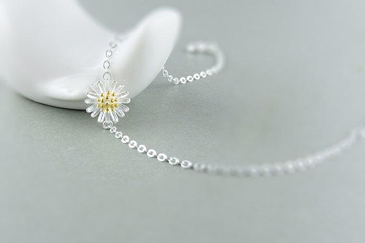 AKOLION Silver Cherry Blossoms Bracelets Charm Flower Bracelets 925 Sterling Jewelry For Girl Women 16