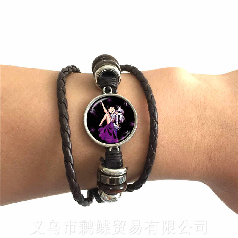 Pink Betty Boop Leather Bracelet Harajuku Cute Cartoon Glass Cabochon Jewelry Fashion Bracelet Best Gifts for Women Men