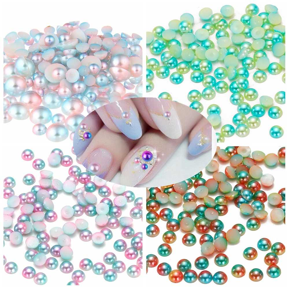 Small Pack RainBow Color Half Round Pearls 3mm 4mm 5mm 6mm Flatback Imitation Craft DIY Wedding Dresses 3D Nail Art Decorations