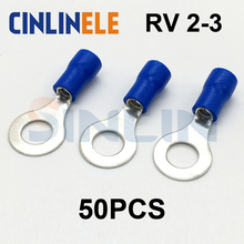 50pcs Crimp Terminal RV2-3 16-14AWG 1.04-2.63mm^2 Crimp terminals blue Ring Terminal Brass R2.5-3