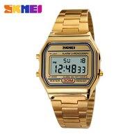 2016 New SKMEI Luxury Brand Men Fashion Sports Watch Digital LED Quartz Wristwatch Steel Strap Superior