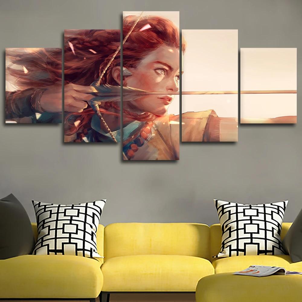 AMOHart Stampe su Tela Decorazioni per la casa Dipinti appesi 5 Pezzi Horizon Zero Dawn Wall Art Living Room Poster Dipinti su Tela Telaio