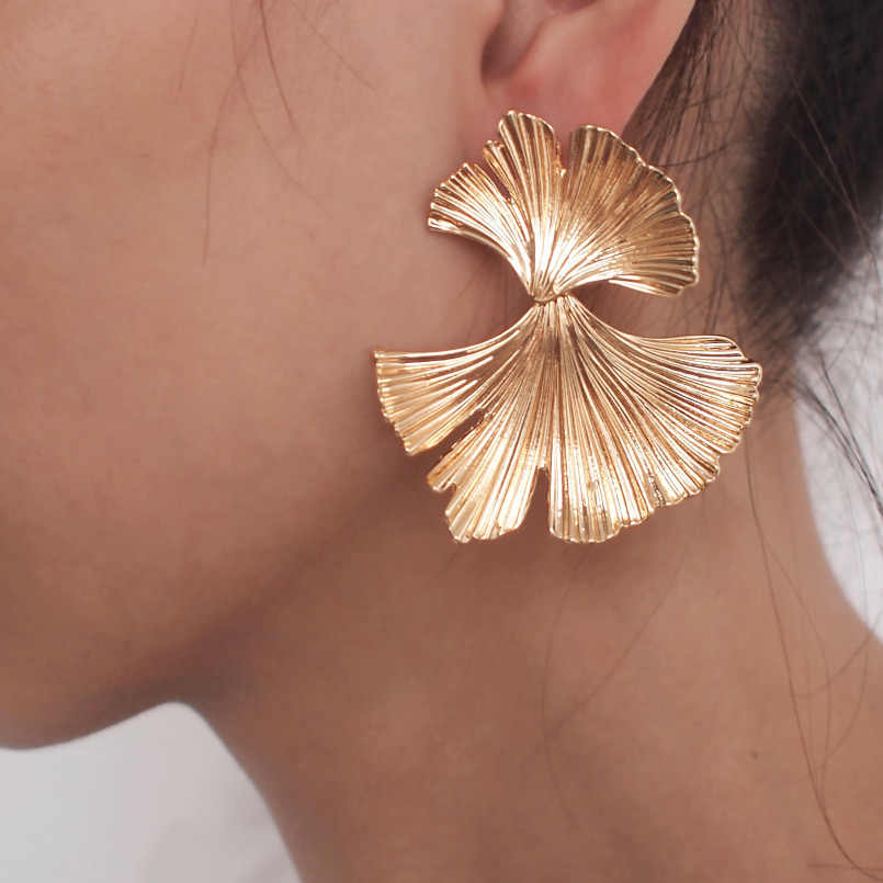 EK173 Bohemian Geometric Gold Color Ginkgo biloba Leaf Shape Drop Earrings for Women Statement Earring Jewelry Accessories Punk