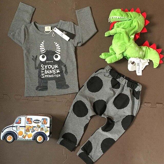 2ff069107bfcd BBK скидка детская одежда взять Осень Прекрасный Корова печать нижнее белье  из хлопка костюмы Круглый воротник
