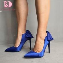 DoraTasia/фирменный дизайн, большие размеры 35-47, элегантные женские туфли с острым носком и бантом, женские вечерние свадебные туфли-лодочки на высоком каблуке