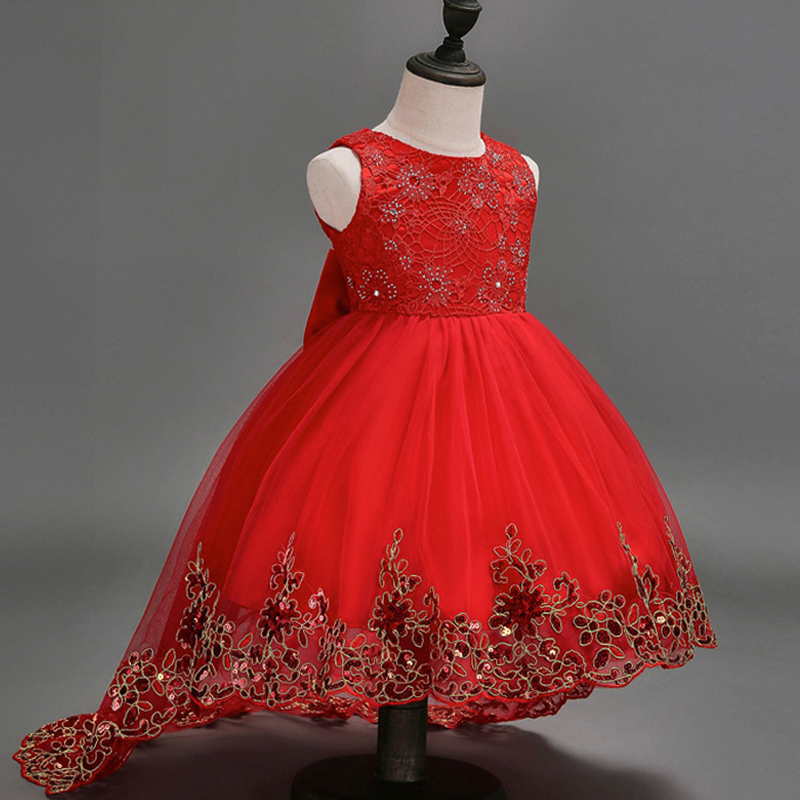 Flower Girl Lace Dress Children Red Mesh Trailing Butterfly Girls Wedding Dresses Kids Ball Gown Embroidered Bow Party Dress girls dresses 2017 summer new lace speaker sleeves children dress cute embroidered girl dress floral child ball gown party dress