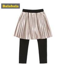299bec567 Balabala Toddler Girl Fake 2-Piece Pleated Satin Skirt with Ribbed Waist +  Elastic Leggings Set Children Kids Autumn Clothes Set