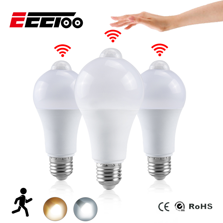 EeeToo Night Light LED Bulb PIR Sensor Motion AC 85-265V B22 E27 LED Bulb Lamp 12W 15W 18W 20W Dusk To Dawn Light For Home