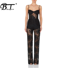hot deal buy beateen 2018 new jumpsuits full length mesh lace regular bodycon bandage jumpsuits fashion for lady hot