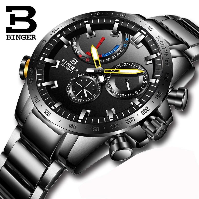Watch Men Switzerland BINGER Luxury Brand Men Watches Automatic Mechanical Men Watch Sapphire Waterproof Energy display