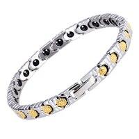 Women Healing Health Germanium Bracelet Femme Bio Gold Mackerel Scale Design Bangle Hot sale Link Hand Chain Fashion Jewelry