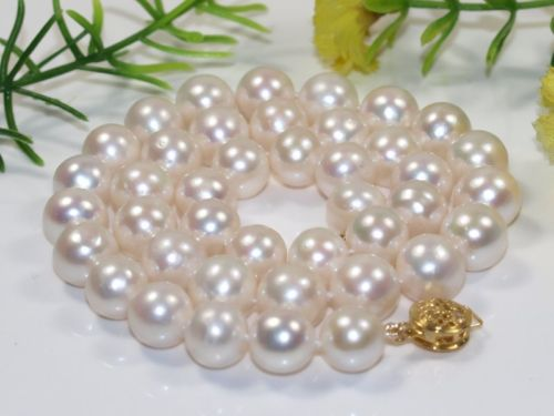FREE SHIPPING>@@> N3810 NEW AAA 9-10mm natural white round freshwater cultured pearl necklace цена и фото