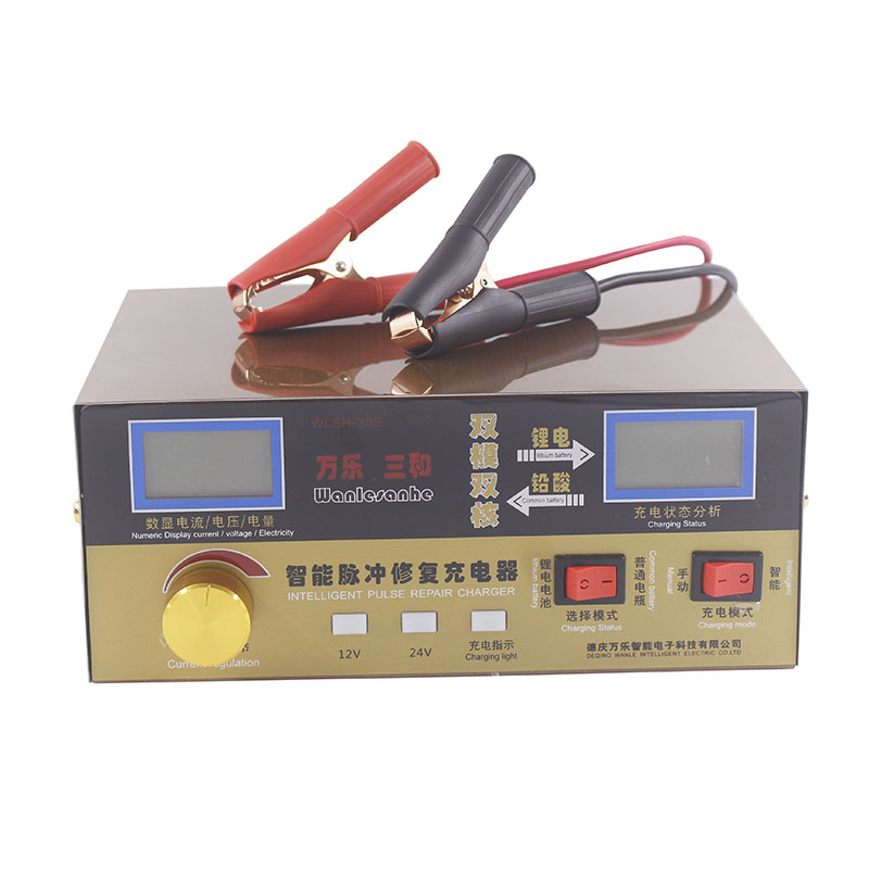 110V/220V Full Automatic Electric Car Battery Charger Intelligent Pulse Repair Type Battery Charger 12V/24V 400AH US Plug