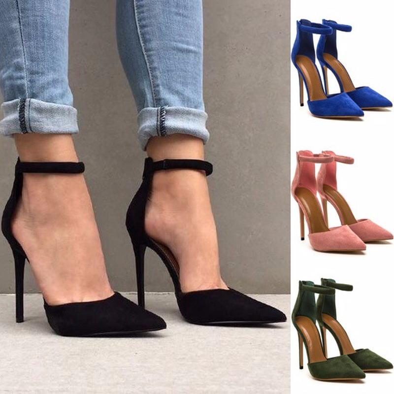 QWEDF women Pointed Toe High heels shoes woman shallow slingback pumps ladies Buckle Strap Party Wedding stilettos shoes  SY-21