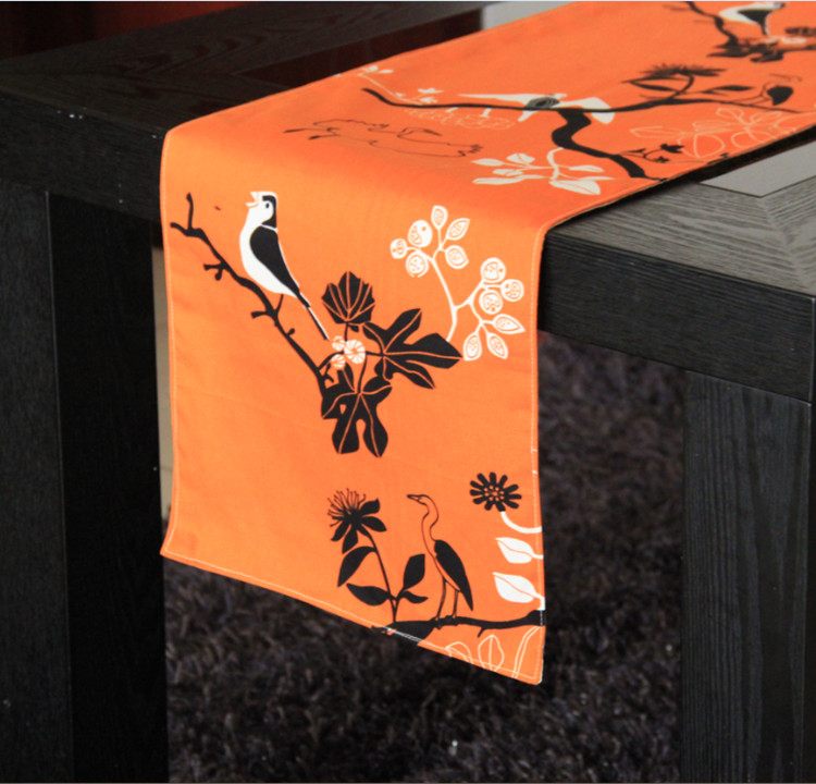 Charmant The Orange Bird Table Runner American Country Rural Bird And Flower Table  Flag Bed Flag Free Shipping