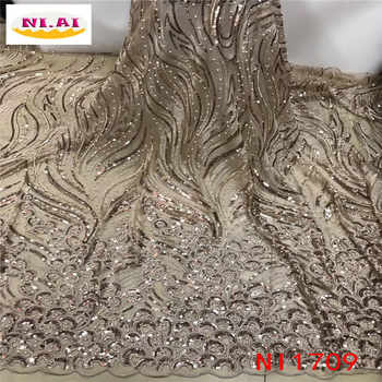 Gold 2019 New Design African Lace Fabric Wholesale French Lace Fabric High Quality Nigerian Tulle Sequins Lace Fabric NI1709 - DISCOUNT ITEM  35% OFF All Category