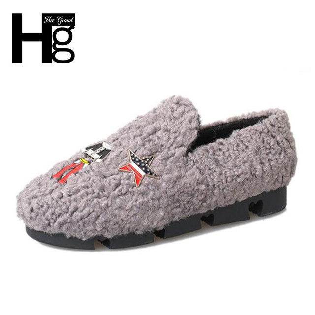 HEE GRAND Women Flat Shoes Fashion Elements Metal Decoration Comfortable Warm Loafers Spring Shoes XWM181
