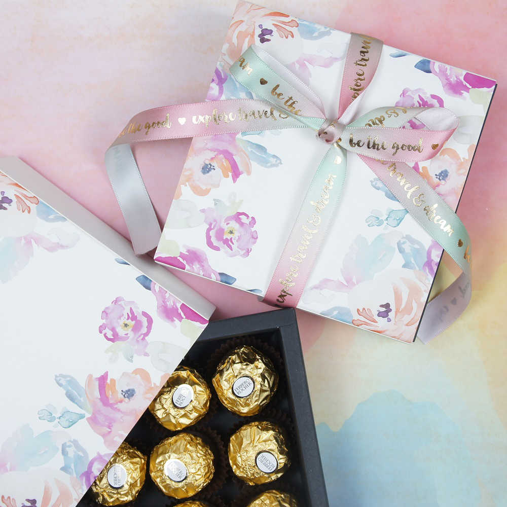 13 1 13 1 3 5cm Water Color Flower Theme 10 Set Chocolate Paper Box Valentine S Day Christmas Birthday Gifts Pack Storage Boxes