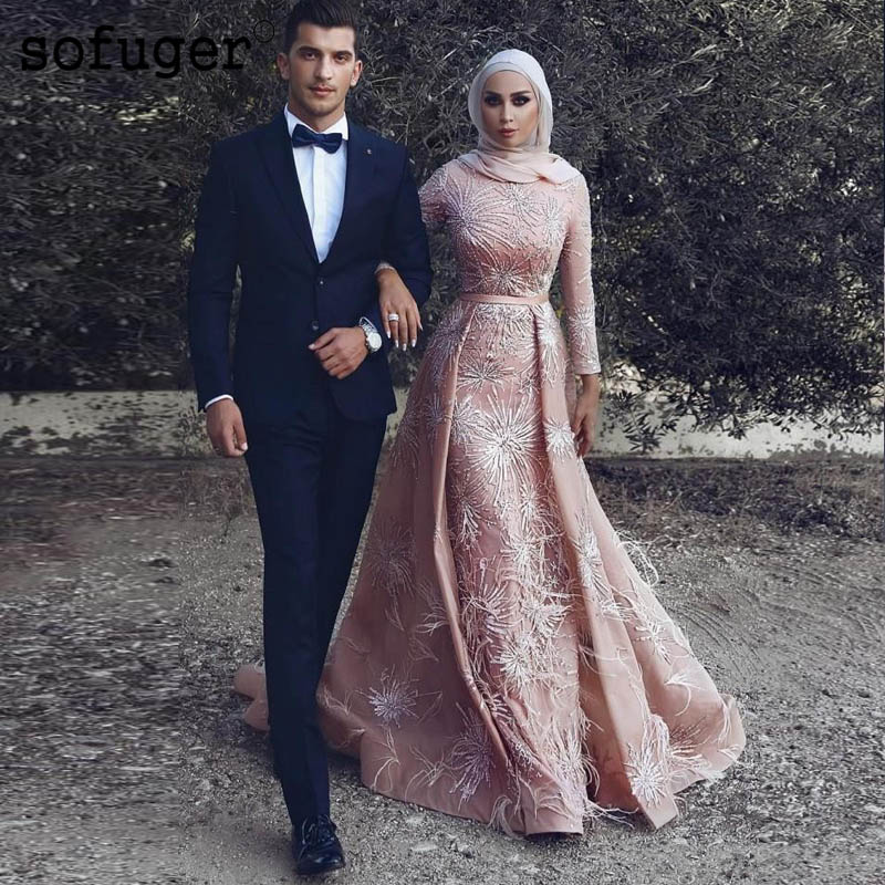 2019 Muslim   Evening     Dresses   Cape Straight Long Sleeves Satin Islamic Kaftan Dubai Saudi Arabic Long Prom   Evening   Gown