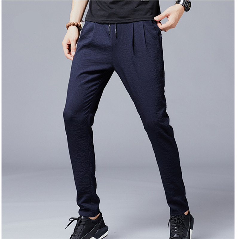 Casual Pants Trousers Male Slim-Fit Business Plus-Size Cotton High-Quality 38 Elastic