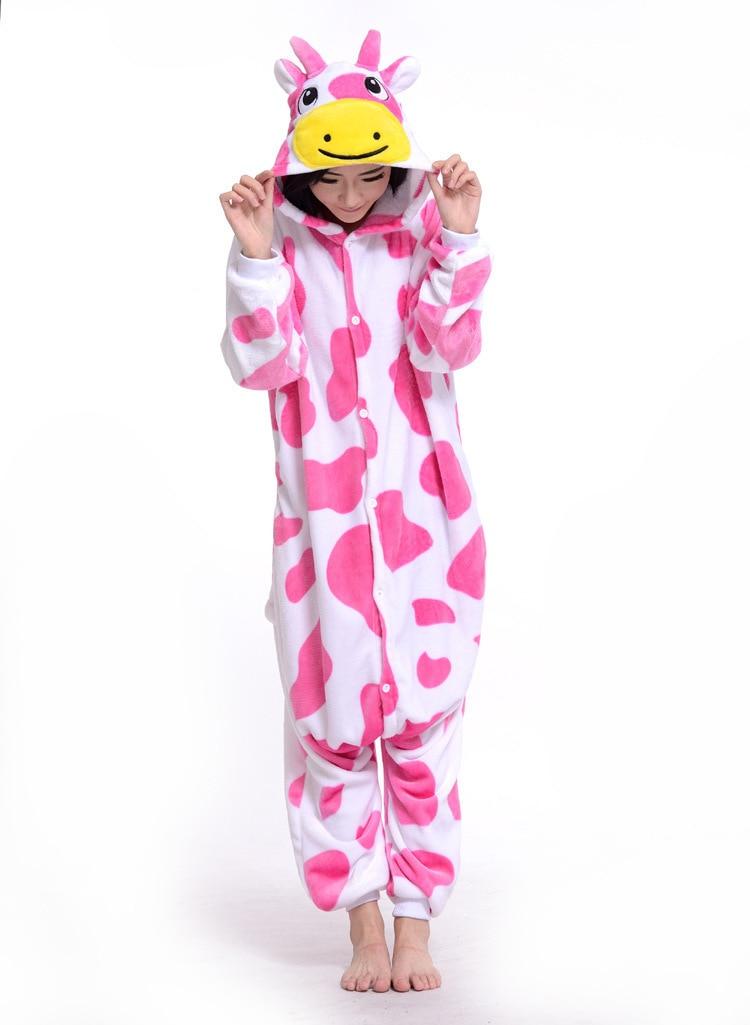 New Warm winter Pijamas Cartoon Cute Powdered Cows Sleepwear Animales Flannel Adult Unisex Cosplsy Costumes Onesies Pyjama