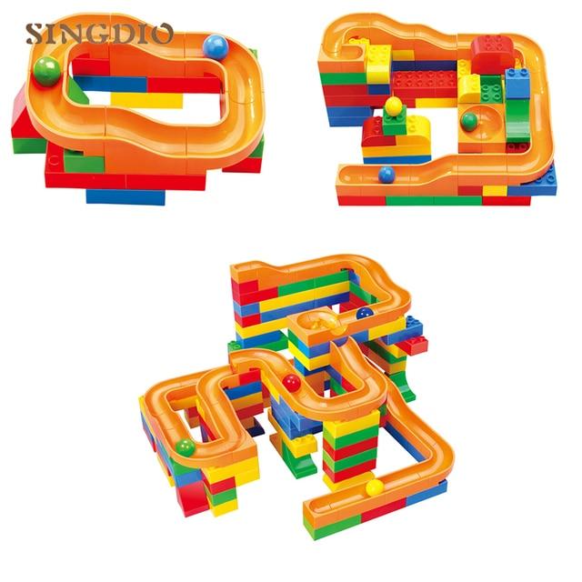 109pcs Children Building Block DIY Construction Marble Race Run Maze Ball Track Plastic House Building Blocks Kids Birthday Gift