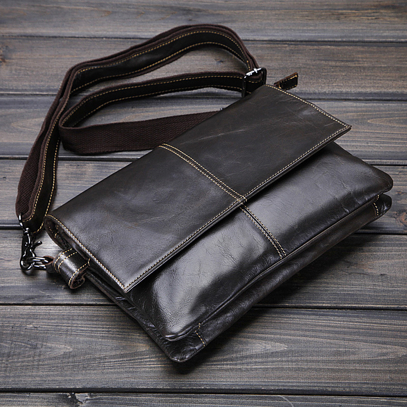 New Retro Ölwachs Echtes Leder herren Klassische Kleine Messenger - Handtaschen - Foto 2