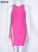 Top Quality Sleeveless Pink Weaving Open Fork Bodycon Rayon Bandage Dress Cute Party Dresses 2017 Bandage