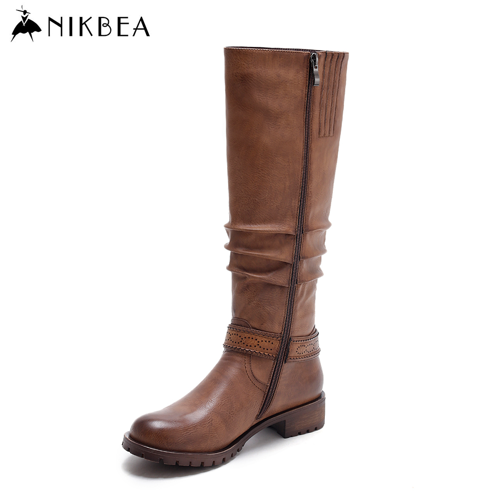 Nikbea Ladies Brown Pu Leather Knee High Boots Riding Flat Boots 2016 Winter Boots Long Vintage Botas Feminina Outono Inverno nikbea brown ankle boots for women vintage flat boots 2016 winter boots handmade autumn shoes pu botas feminina outono inverno