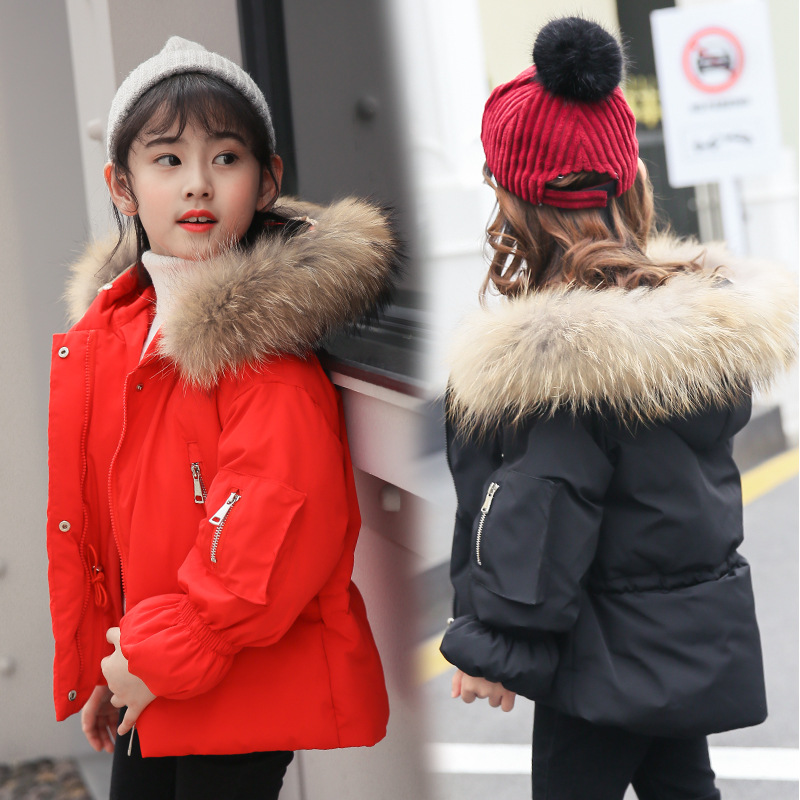 Winter Down Jacket for Girls Children Coat Kids Hooded Outerwear Warm Thickening Hooded Coats Teenage Outwear -30 Winter Coat rib cuff zippered hooded coat