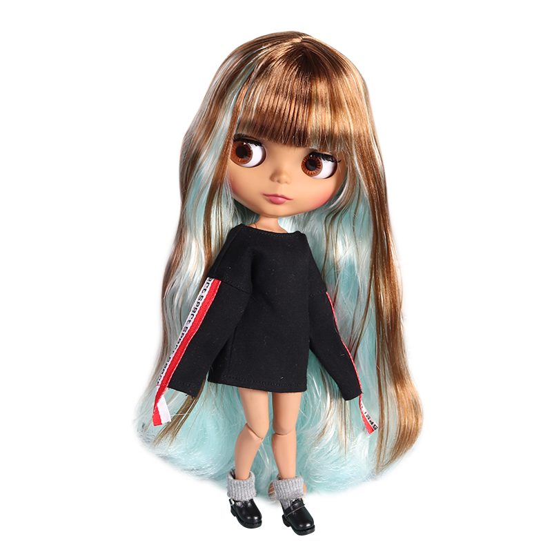 factory blyth doll 1 6 bjd joint body dark skin matte face brown and blue hair