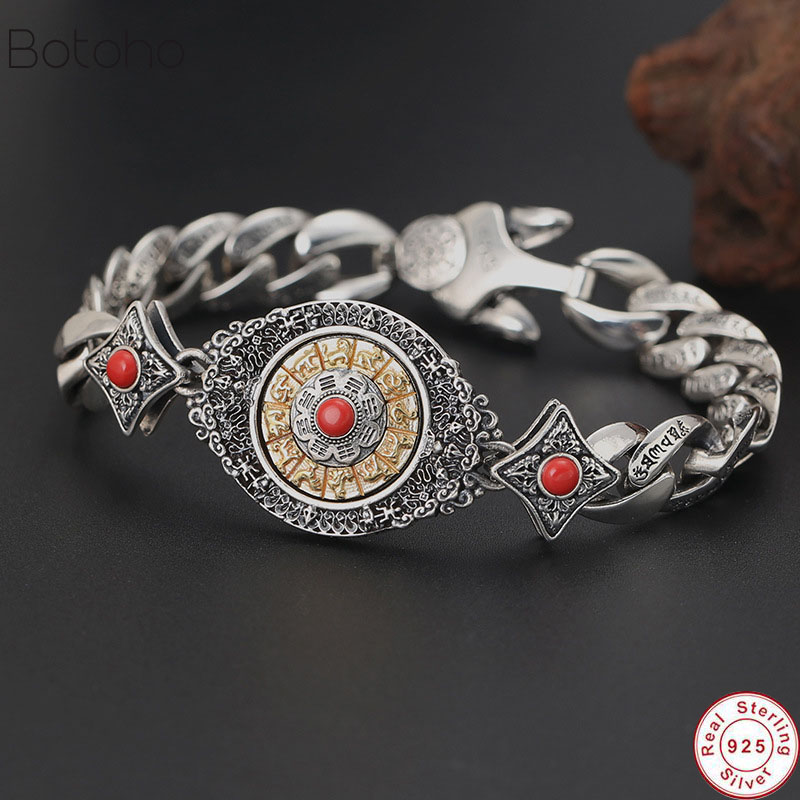 100% Pure 925 Sterling Silver Survival Bracelet For Women Men Buddha Zodiac Mantra Vajra friendship Bracelet Bangle 2019 Jewelry