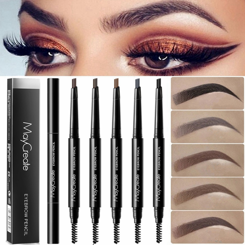 5 Colors Automatic Eyebrow Pencil Waterproof Makeup Eyes Brow Pen Double-head Make-up Black Brown Gray Natural Eyebrows