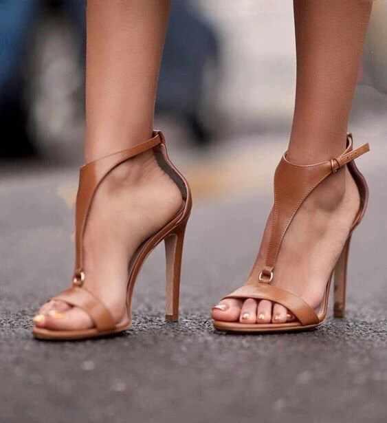 245094881 Новые женские Босоножки с открытым носком на каблуке 40 ярдов, коричневые  туфли